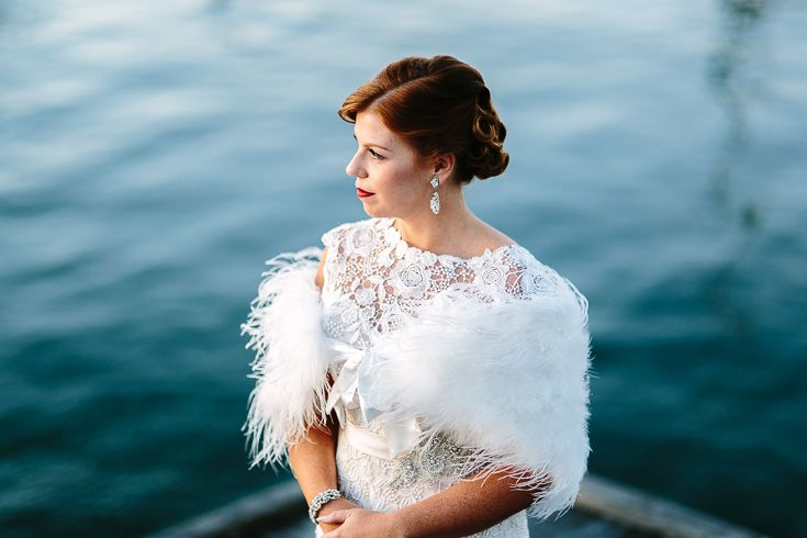 Beautiful vintage style bride with wrap. Anchorage Port Stephens