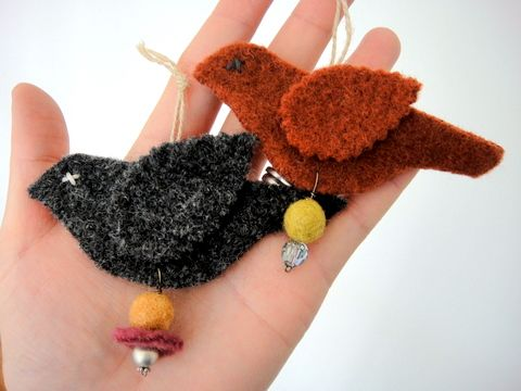 DIY: Scrappy Wool Birds....made from felted wool scraps....would make a great ornament or present topper!