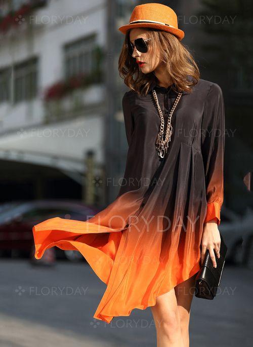 Dresses - $108.59 - Silk Color Block Long Sleeve Above Knee Casual Dresses (1955093346)