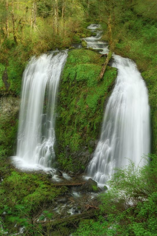 """Double Waterfall"" - Upper McCord Creek Falls - Columbia River Gorge, Oregon"