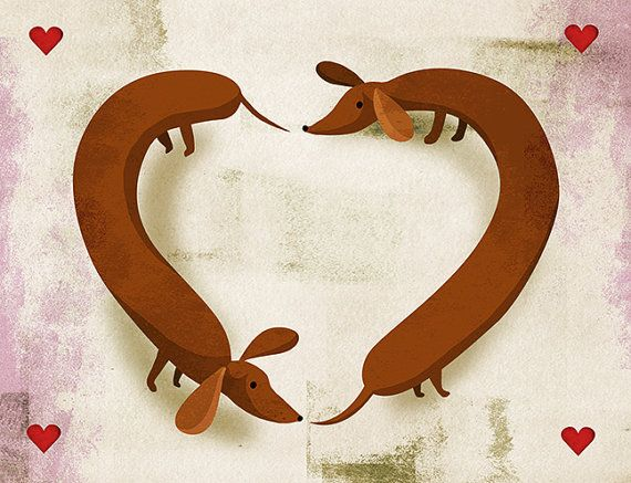 Valentines Day Wiener Dog Card Wiener Dog Love Card. Inside simply has a heart. Send that person who loves sausage dogs a special Love card. Deep