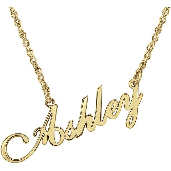Personalized 14K Gold Over Sterling Silver Script Name Necklace ($94) ❤ liked on Polyvore featuring jewelry, necklaces, gold necklace, gold rope chain necklace, heart necklace, 14k heart necklace and yellow gold heart necklace