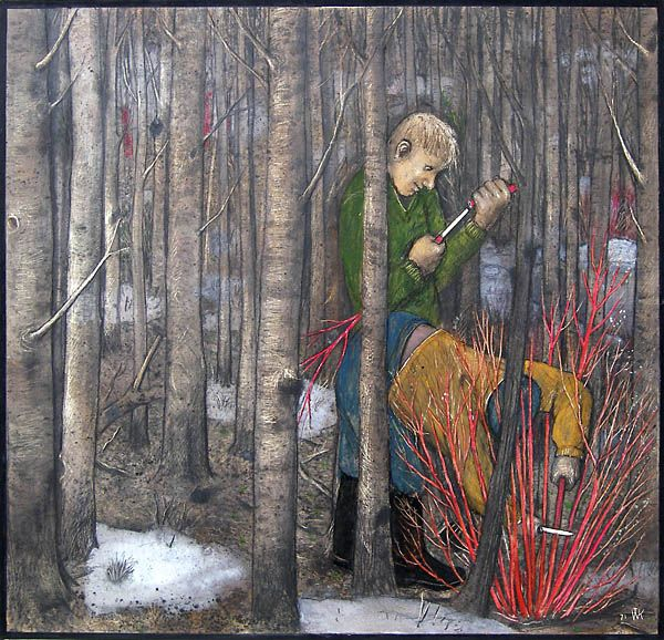 'Whistle Making Time in Manitoba' by William Kurelek at Mayberry Fine Art