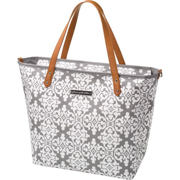 Petunia Pickle Bottom Downtown Tote - Breakfast In Berkshire | $179.95 Matte-coated canvas fabric that is water repellent and combines designer touches with unique hand embroidered accents. Honey-coloured vegan leather handles and trim and water resistant lining.
