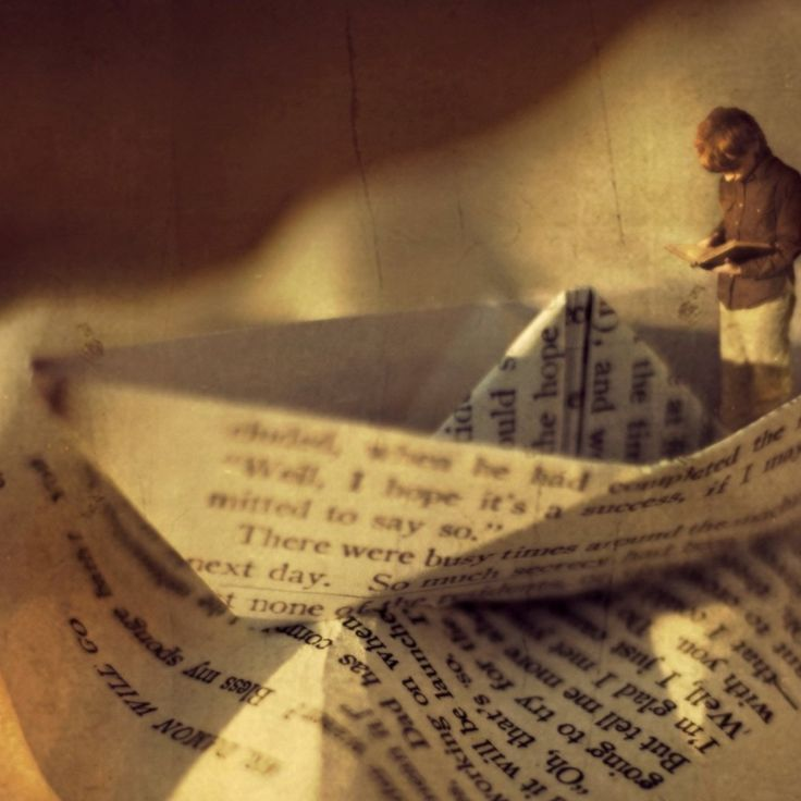 Boy reading book in a boat - Artistic Vintage Wallpaper