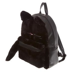 Furry Black Cat Backpack,