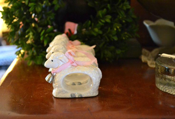 Vintage Sheep Napkin Rings Farmhouse Napkin Rings White Sheep Napkin Holder Farmhouse Decor Baby Shower Decor Set of 4 by JudysJunktion on Etsy https://www.etsy.com/listing/569867519/vintage-sheep-napkin-rings-farmhouse