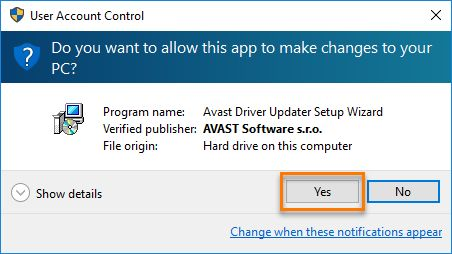User Account Control Avast Driver Updater