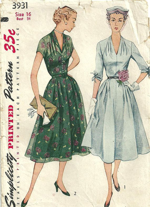 Simplicity 3931 vintage 50s Sewing Pattern by studioGpatterns, $14.50