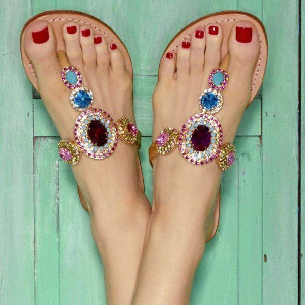 Colorful Jeweled Sandals Rhinestone Beach Flat Flip Flops