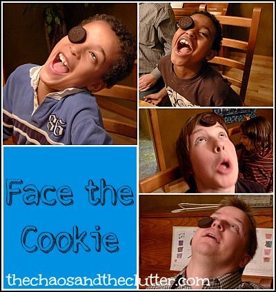 Face the Cookie Game. Place a cookie on your forehead. Without using your hands or dropping the cookies try to make the cookie in your mouth :)