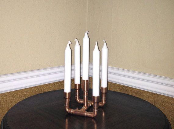 Steampunk cuivre tube bougie titulaire dessin ou par MacAndLexie, $79.00