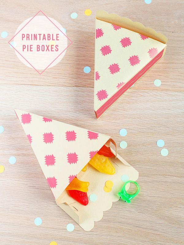 FREE printable pie boxes