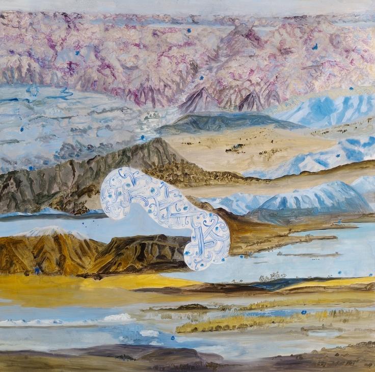 Barbara Tuck, Soul's Neural Tekapo, 2009, Oil on Board, 750 x 750mm