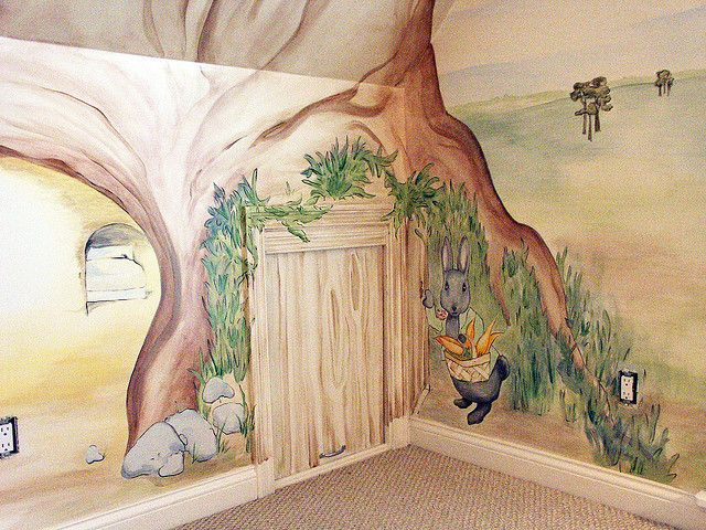 17 best images about for kids playroom murals on for Beatrix potter wall mural