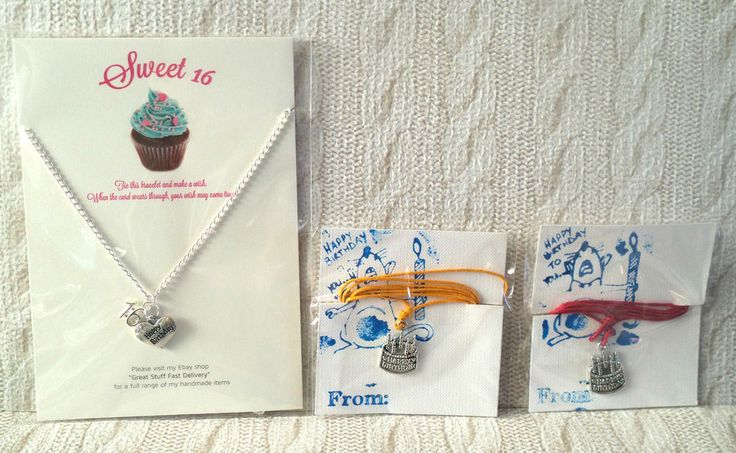 SWEET 16/16 th Birthday silver plated NECKLACE or waxed cord CAKE PENDANT w cord
