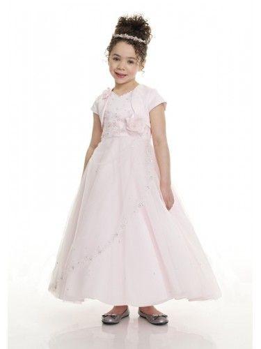Satin and Tulle Beaded Bodice Tea-Length Flower Girl Dress