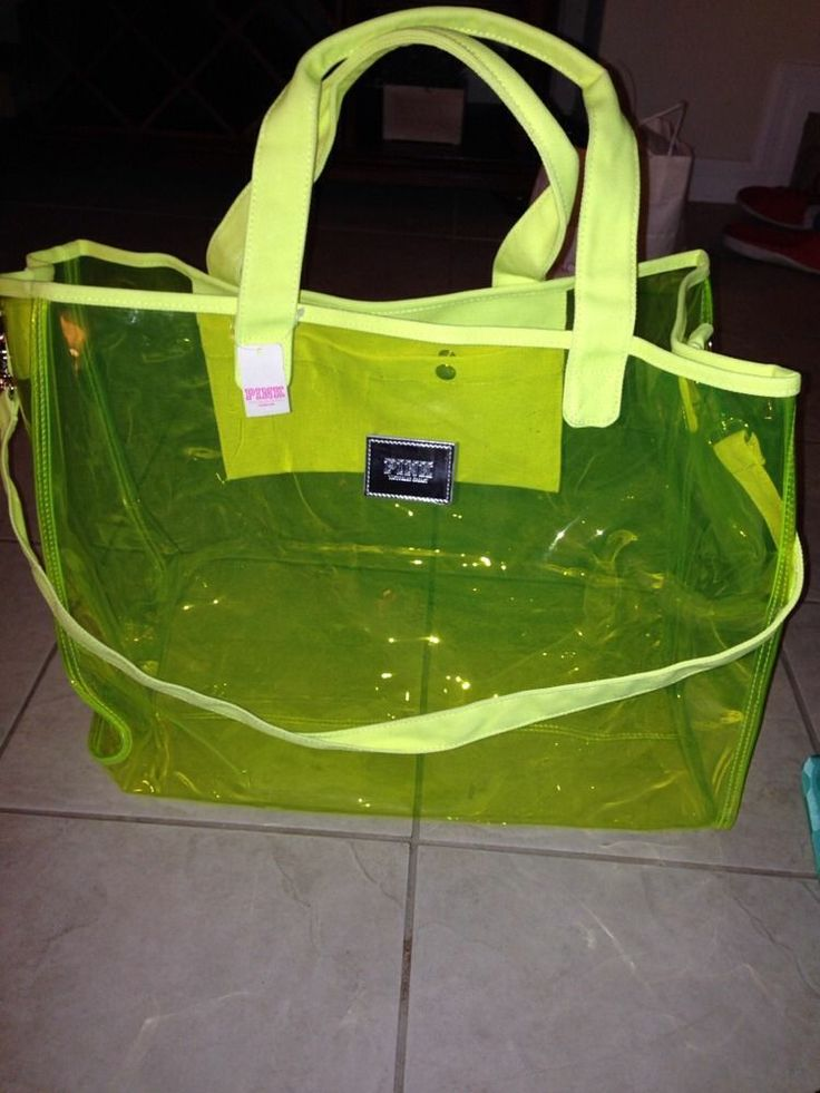 Victoria's Secret Pink XL Jelly Clear Duffle Beach Tote Bag Neon ...