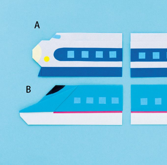 町で活躍する働く車の折り紙。 新幹線は真ん中の車両をたくさん作れば、どんどん長くなるよ! ※ここではAの作り方を紹介(Bの作り方は別レシピにてご紹介しています。)