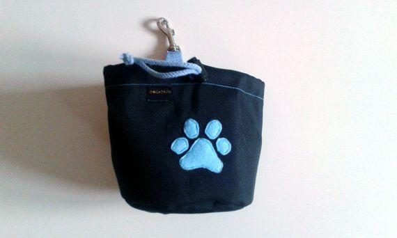 Black dog treat pouch with a colourful bone motif by DoGATAilla