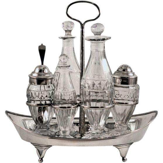 ca 1801 George III Scotland Sterling Silver and Thistle Pattern Glass Cruet Set - Harmony