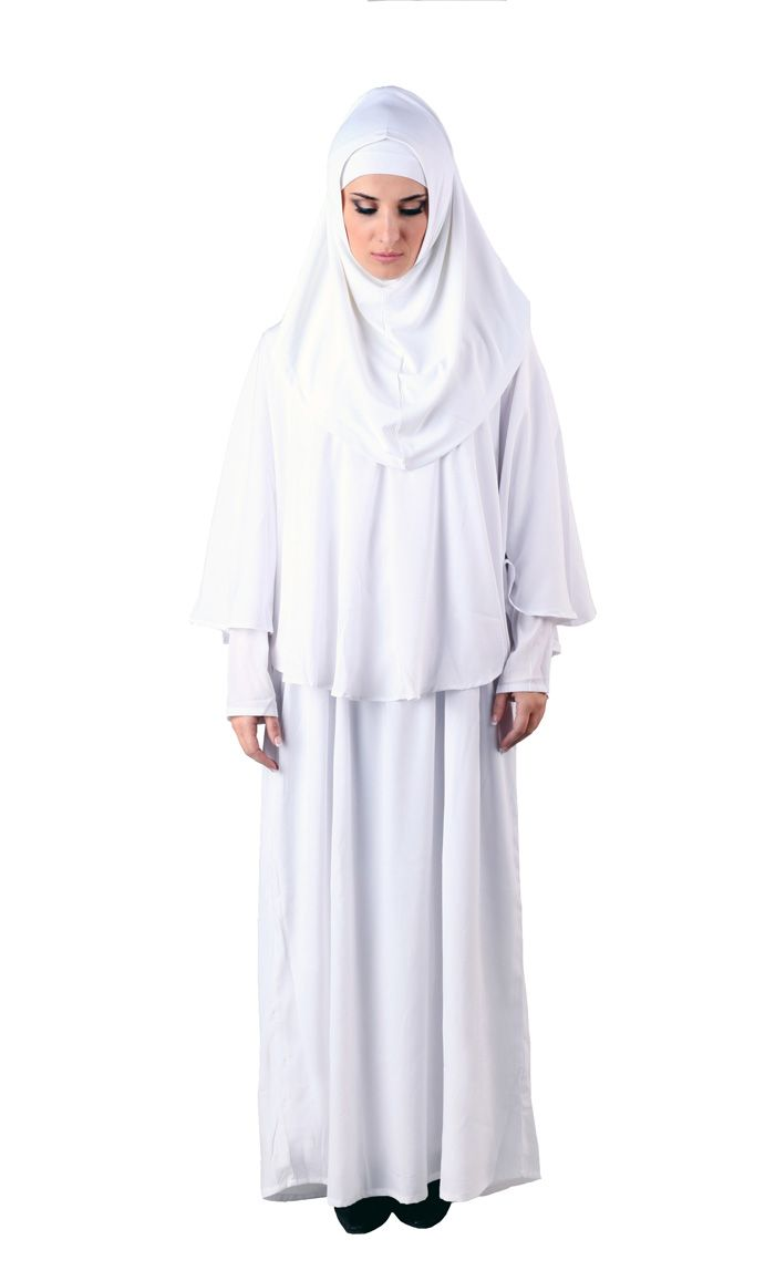 This three piece abaya is great for Haj, or prayer! Includes: Al-Amira, Skirt and top. Sleeves are lined for modesty. Fabric: Soft Polyester