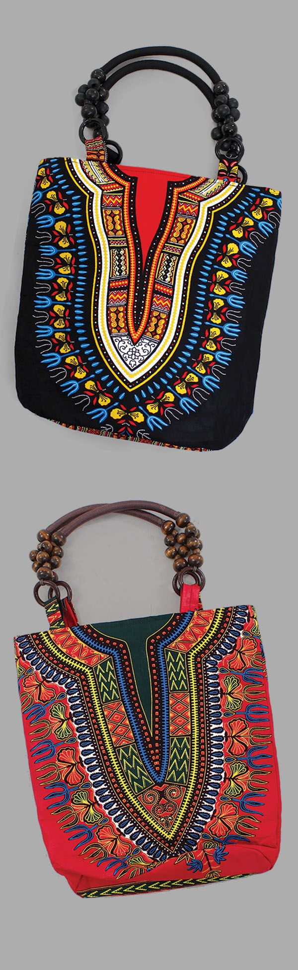 Traditional African Print Beaded Tote Bag Purse - Be bold and vibrant with this traditional African print handbag. This tote features a large wooden beaded handle. Closes with a zipper. Completely hand-crafted in Ghana.  Celebrate African culture and history with this beautiful African traditional style purse.  #purse #handbag #style #african #africa #fashion #womensfashion #africanfashion