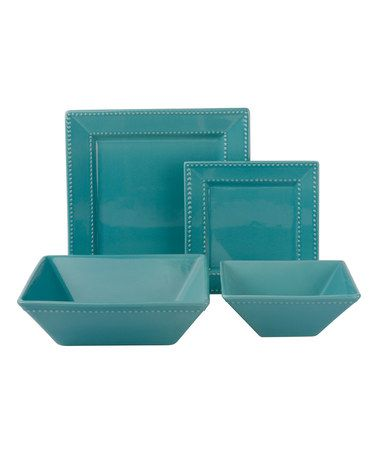 Loving this Teal Nova 19-Piece Square Beaded Green Dinner Set on #zulily! #zulilyfinds
