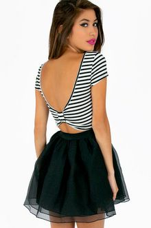 Scooping Stripe Bow Crop Top Skater Skirt