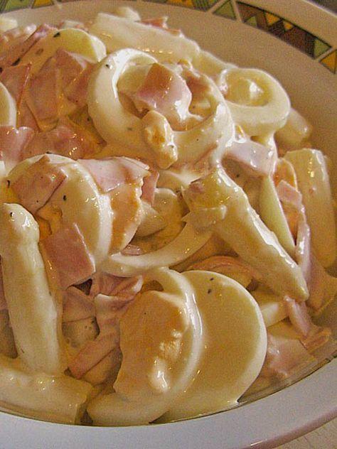 Spargelsalat mit Schinken und Ei