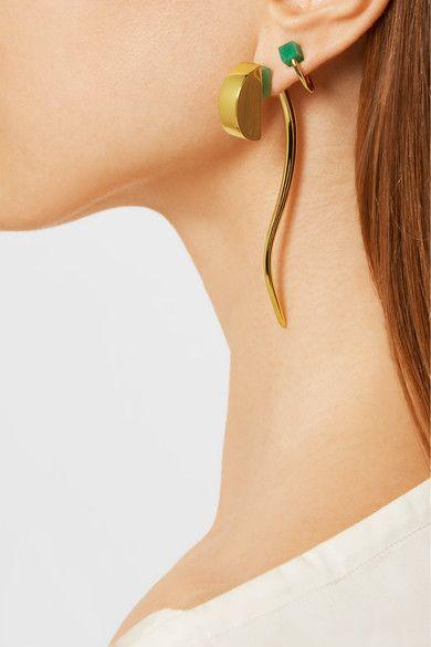 PAULA MENDOZA Mer gold-plated emerald earrings