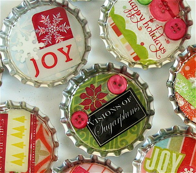 Bottle cap magnets...super cute for Christmas gifts! Scrapbooking materials and glossy glue...super easy.