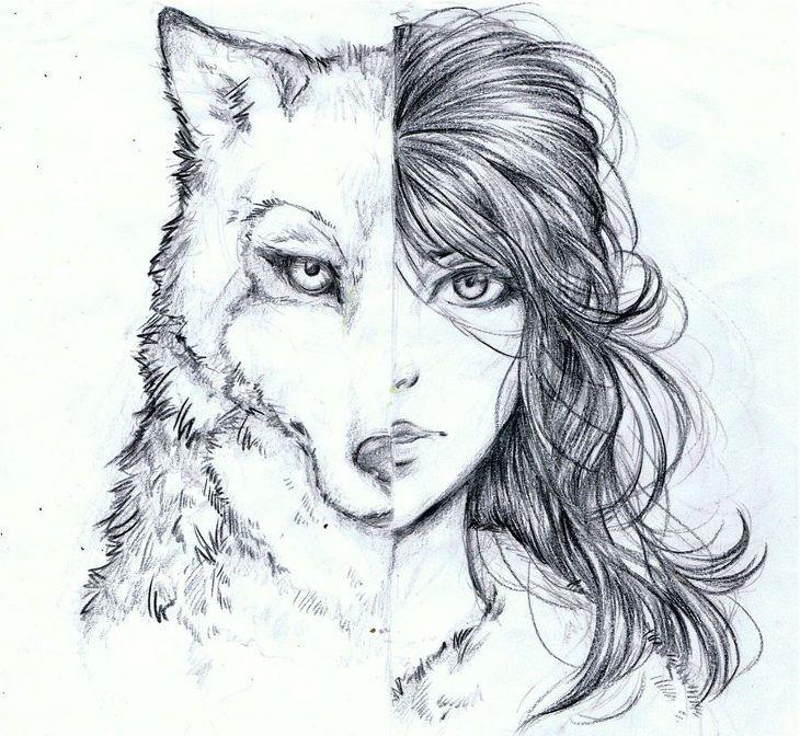 Half Girl and Half Wolf Drawing