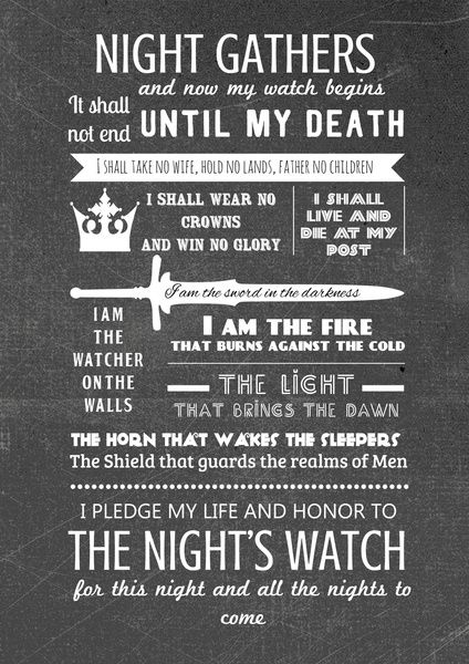 Game of Thrones - The Night's Watch Oath  by Teacuppiranha