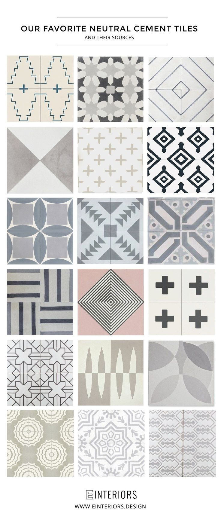 THE BEST NEUTRAL CEMENT TILES  Cement tile is gorgeous and we are using it in several of our projects. We are sharing 18 of our favorite neutral options and where to find them