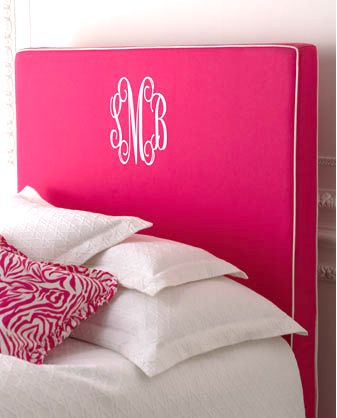 Horchow Monogramed Headboard...in Pink!