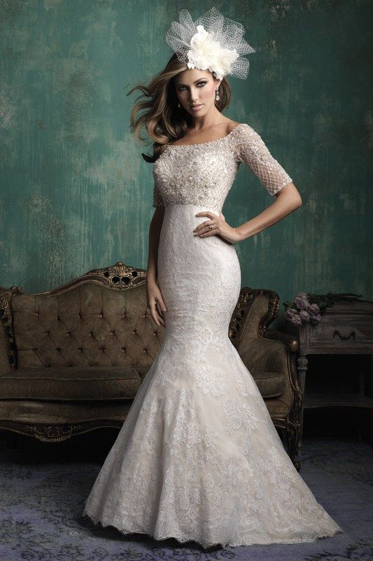 C341 Allure Couture Bridal Gown - The silhouette may be slim, but this bridal gown incorporates incredible texture and detailing.