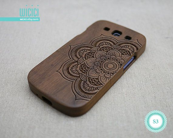 Mandala phone case Wood Galaxy S3 case Wooden Samsung by wicici