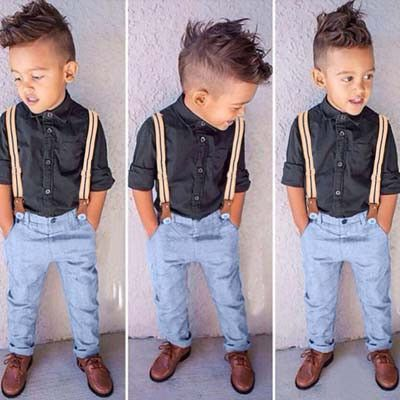 2 Piece Dress Shirt & Pants with Suspenders-This outfit is perfect for your toddler boy attending a formal event. #Outfits #Babydresses #Babywear #Babystyle