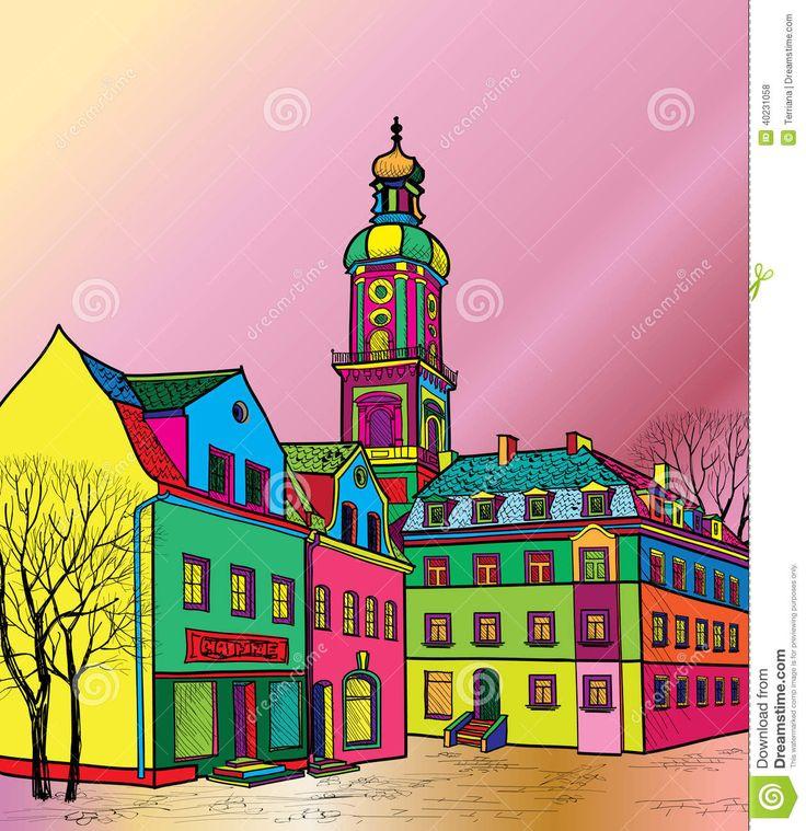 Vecchio Paesaggio Urbano Della Città Con La Via. Schizzo Di Monumento Storico E Della Casa. Illustrazione Vettoriale - Immagine: 40231058