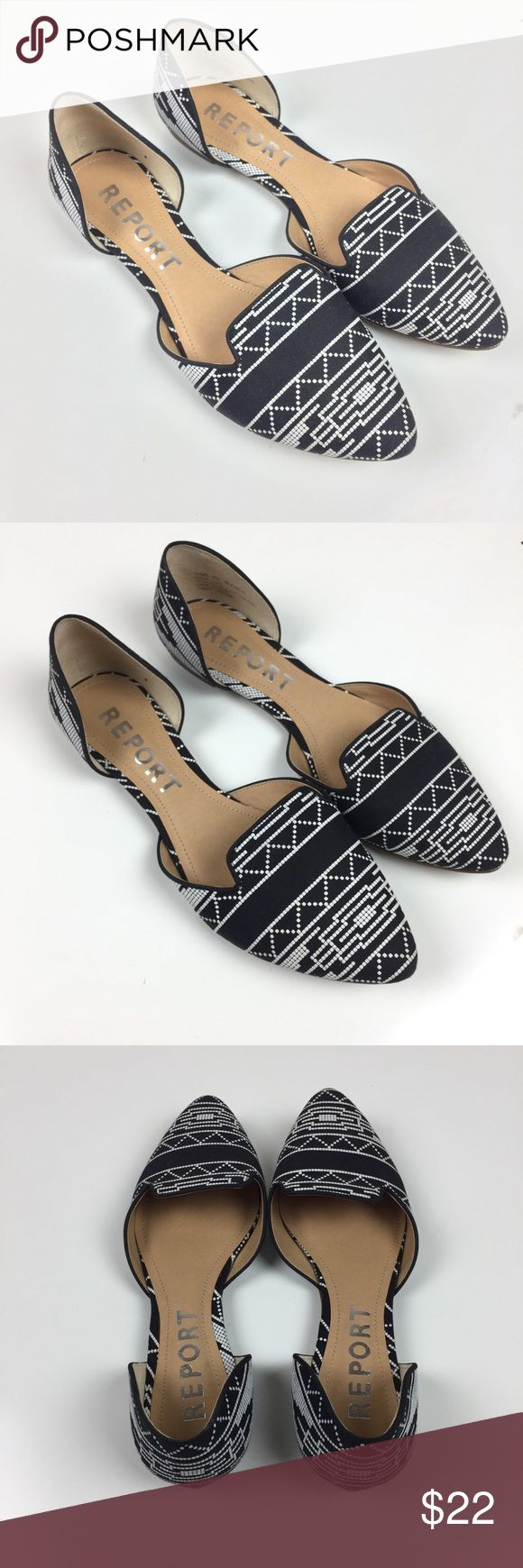 Report D'orsay Jezzica Flats  - Black and White Black and white Aztec print flats. Gently used condition. Report Jezzica D'orsay Report Shoes Flats & Loafers