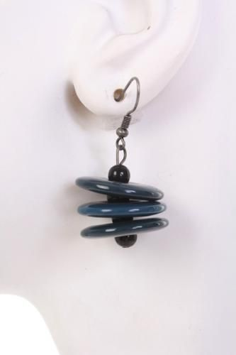 Dark Teal Two Tone Three Coin Layered Earrings