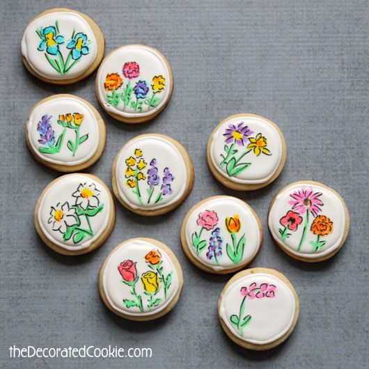 hand-drawn mother's day flower cookies #mothersday #decoratedcookies