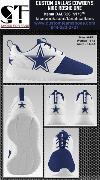 Custom Dallas Cowboys Dez Bryant Nike Roshe One Shoes Limited Edition of only 500 pairs Sizes available: Men - 6-15, Women - 5-12 & Youth - 3.5-6 $179 + Tax Check out our other styles at customfangifts.myshopify.com All base shoes are ordered from NikeID and once we receive the shoe from them, we begin the customization process for the customer. Total time from order date to the time you receive them is 2-6 weeks, depending on level of customization.