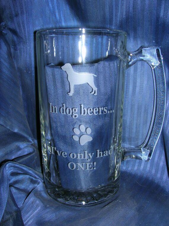 Etched dog beer mug, engraved beer mug, etched glass mug, engraved glass mug, etched 40th beer mug, engraved 21st beer mug, etched 50th mug