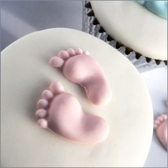 Sugar Baby Feet Edible Cupcake Toppers Pink by TheVillageCakeCo