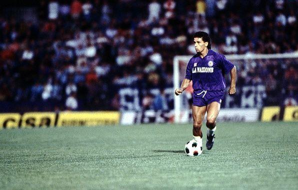 Фото обои поле, трава, мяч, фиолетовые, мышцы, Roberto Baggio, Fiorentina
