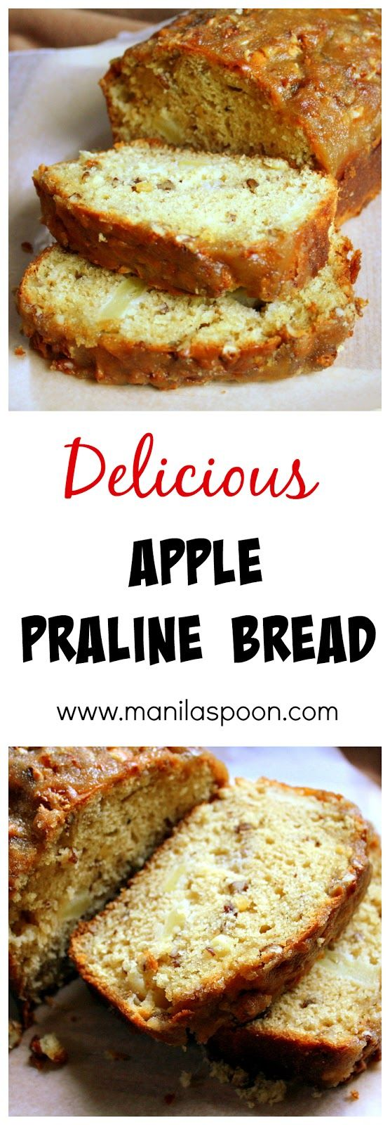 Apple Praline Bread - No Oil or Butter is used in the batter(butter IS used for topping)yet this bread is so moist and delicious!!! The crunchy praline topping brings this over the top! You must make this!
