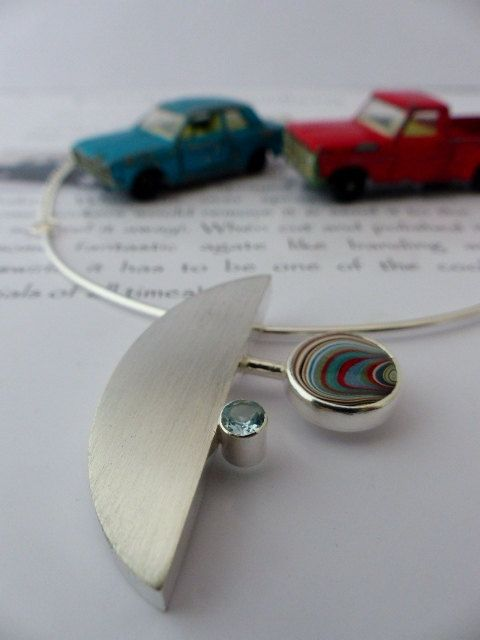 My latest pendant! I really like the combination of brushed silver, fordite and aquamarine. Contemporary Fordite and Aquamarine Pendant by KirstyMuirJewellery, £170.00