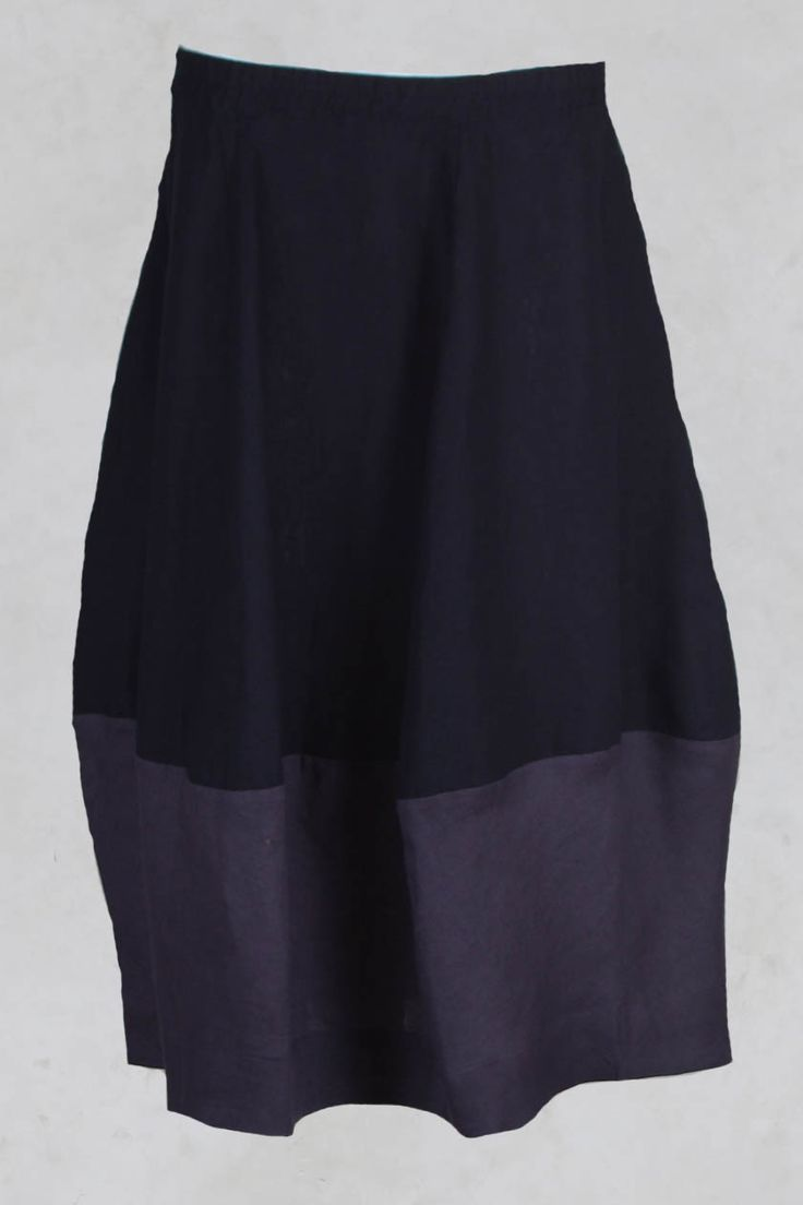 Panelled Linen Tulip Shaped Skirt in Navy - Les Filles D'ailleurs